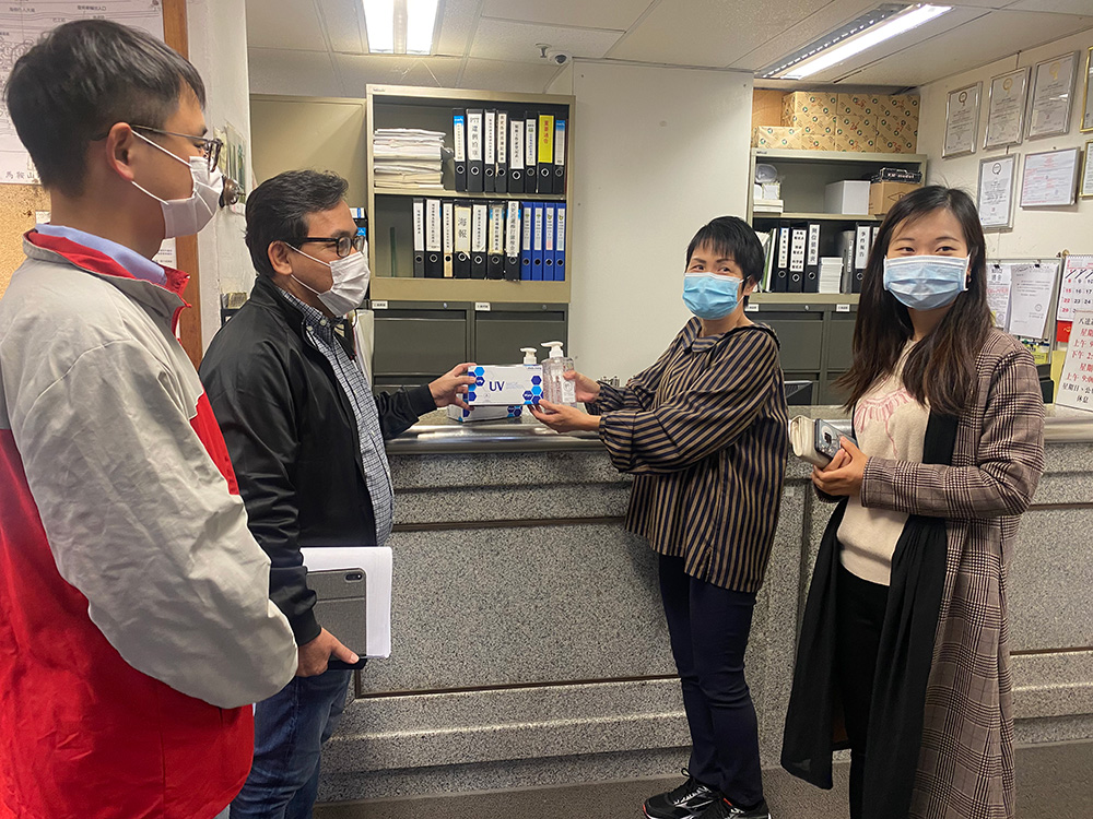 Donation of surgical mask and hand sanitizer to nearby housing management office on 4 Mar 2020