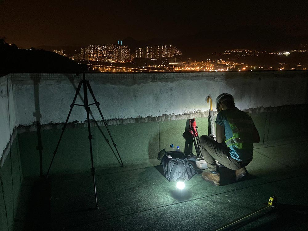 Conducting construction noise monitoring at nearby estate at night on 17 Aug 2020